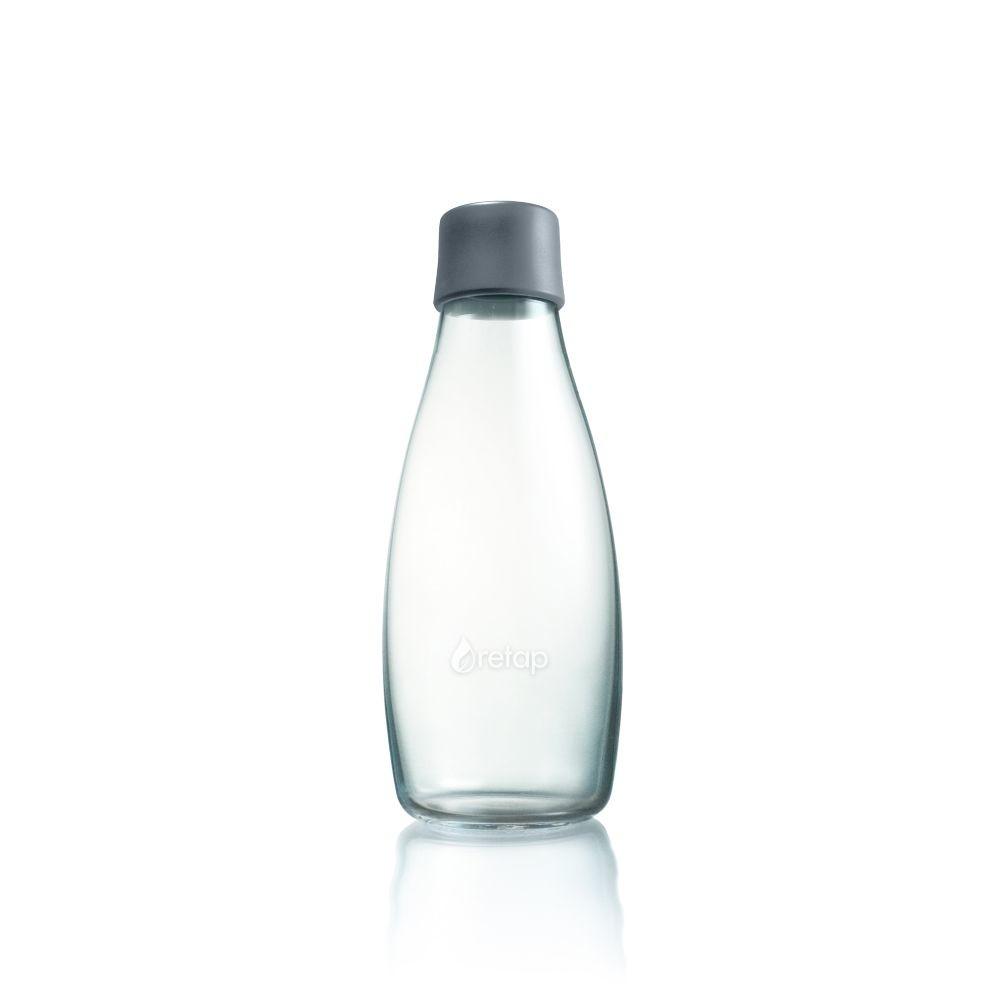 Sivá sklenená fľaša ReTap s doživotnou zárukou, 500ml