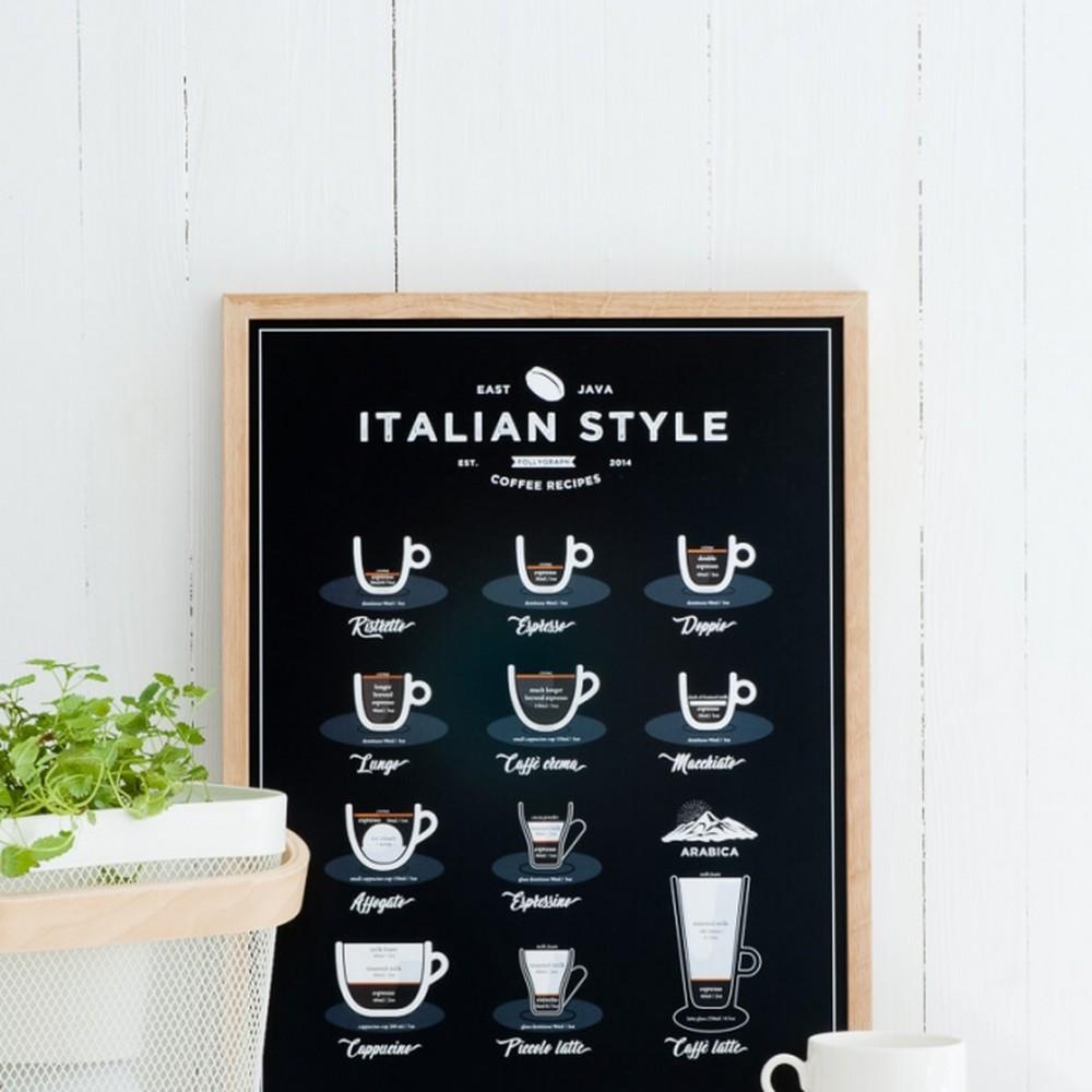 Plagát Follygraph Italian Style Coffee Black 50x70 cm