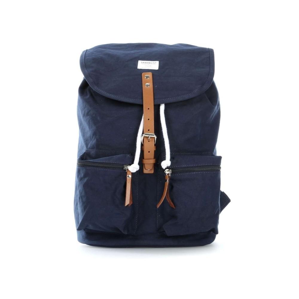 Tmavomodrý batoh s koženými detailmi Sandqvist Roald