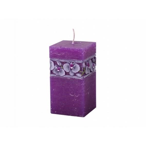 Vyrezávaná sviečka Fialová orchidej, hranol