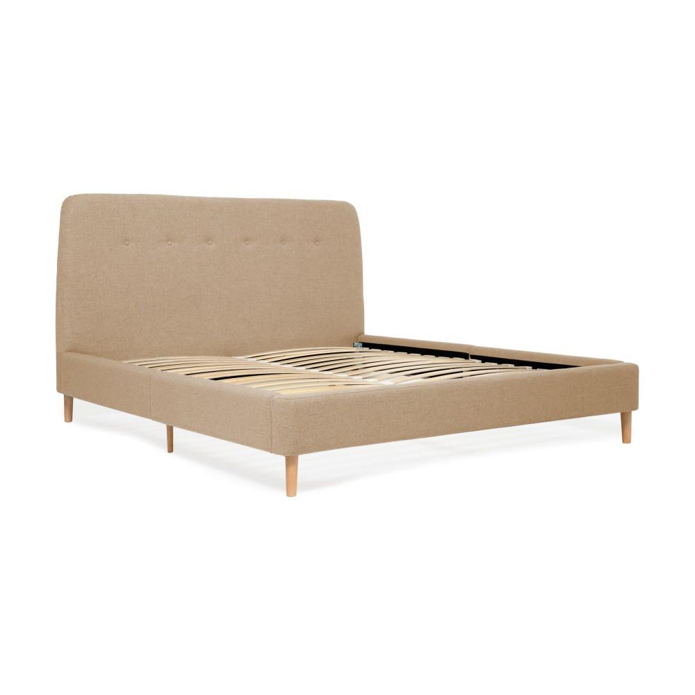 Pieskovohnedá dvojlôžková posteľ s drevenými nohami Vivonita Mae Queen Size, 160×200 cm