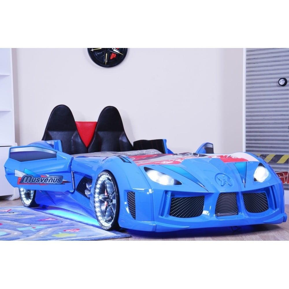 Modrá detská posteľ v tvare auta s LED svetlami Racero, 90 × 190 cm