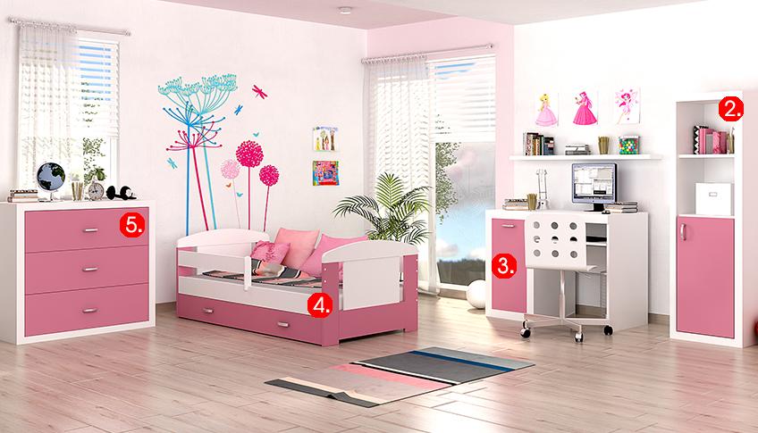 Detská izba FILIP COLOR / so zásuvkou   Farba: biela / ružová
