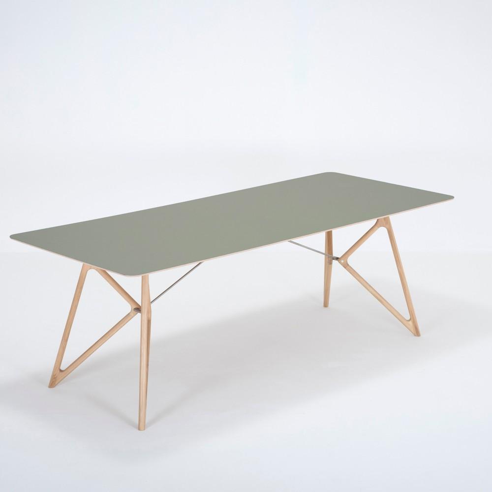 Jedálenský stôl z masívneho dubového dreva so zelenou doskou Gazzda Tink, 220×90cm