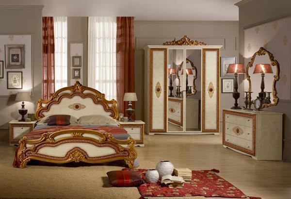 Štýlová talianska posteľ SILVIA PRINTED 180x200 cm - béžová