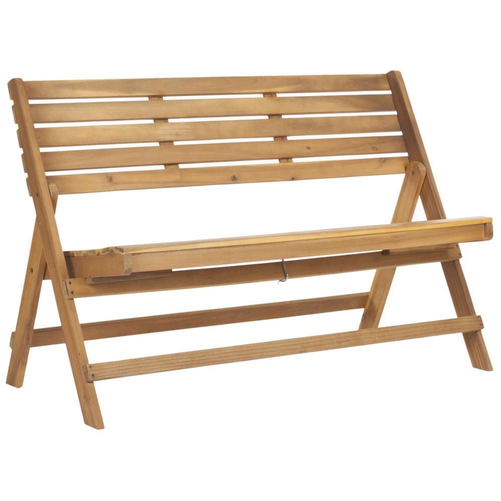 Hnedá vonkajšia rozkladacia drevená lavica Safavieh Ferrat