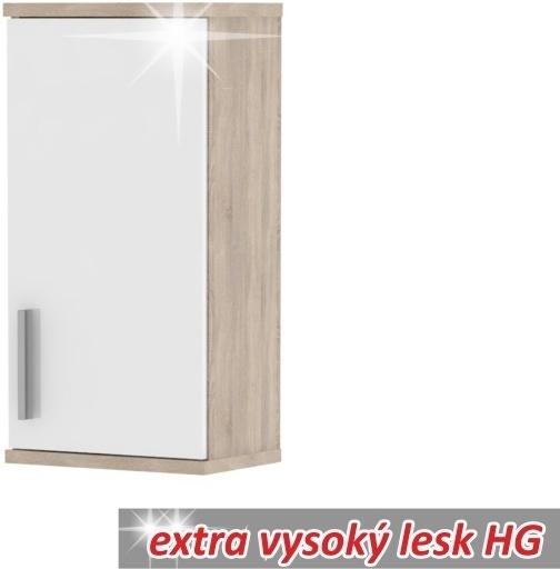 Závesná skrinka, dub sonoma/biela vysoký lesk, LESSY LI 04
