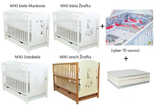 AMAL 10-dielny komplet: postieľka MIKI so zásuvkou +matrac +súprava KLASIK