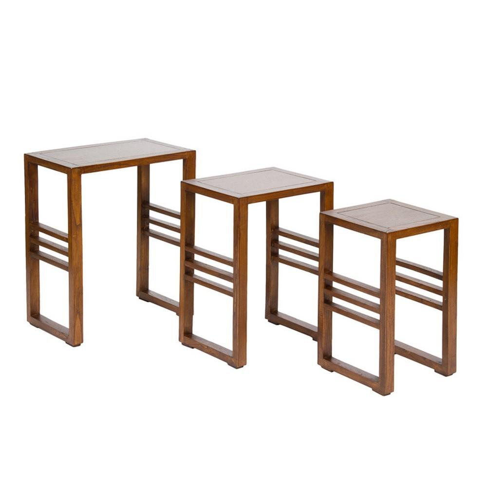 Sada 3 odkladacích stolíkov z dreva mindi Santiago Pons Abirad