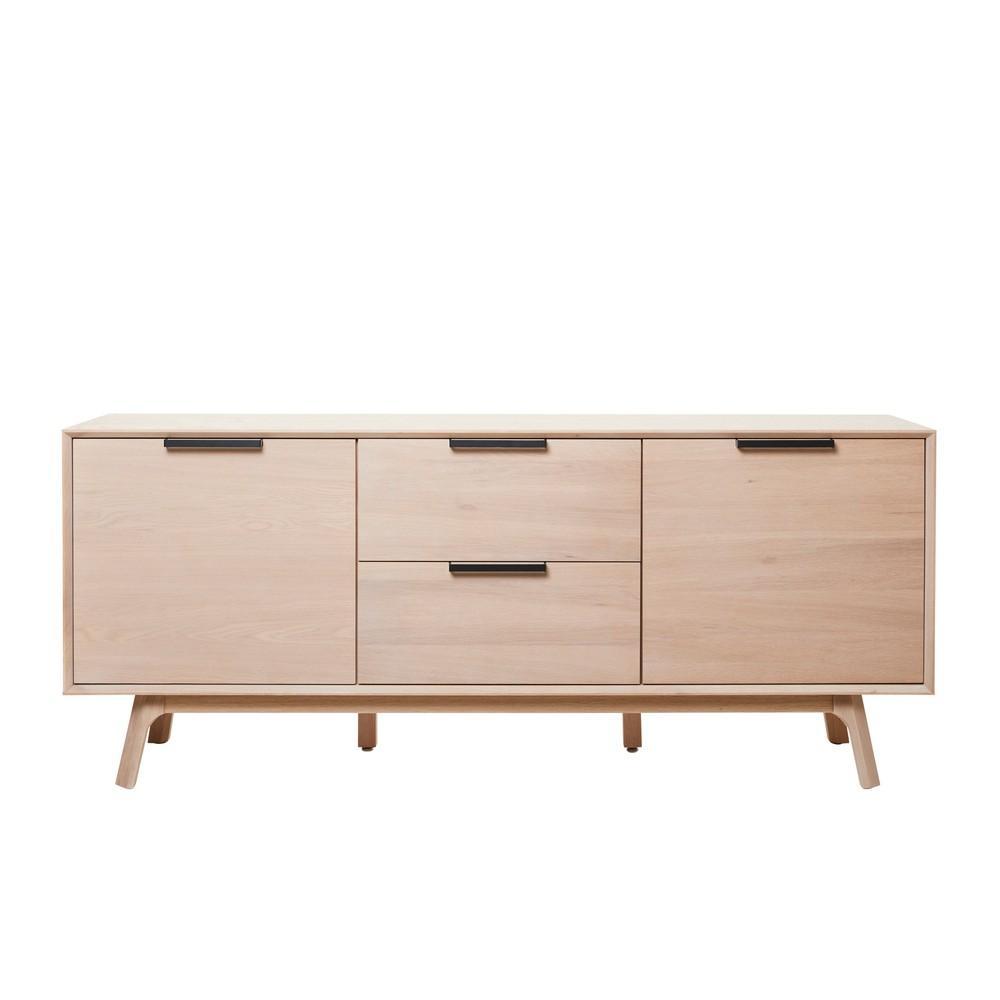 Nízká komoda z bieleho dubového dreva s 3 dvierkami Unique Furniture Vivara