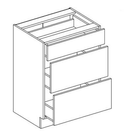 D60/S3 dolná skrinka s tromi zásuvkami MYA, picard/biely lesk