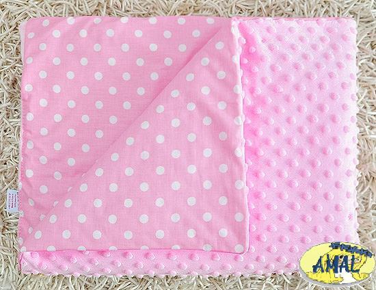 AMAL Deka MINKY ružová, Ružové hrášky, 75x100 cm