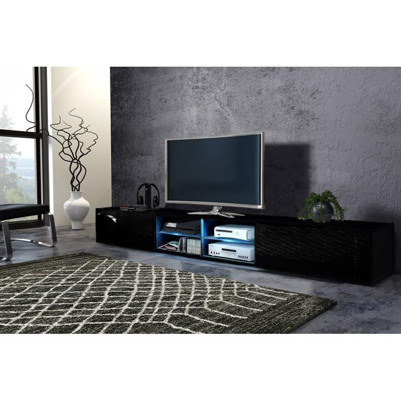 TV stolík/skrinka Best dvojitý (čierna + lesk čierny)