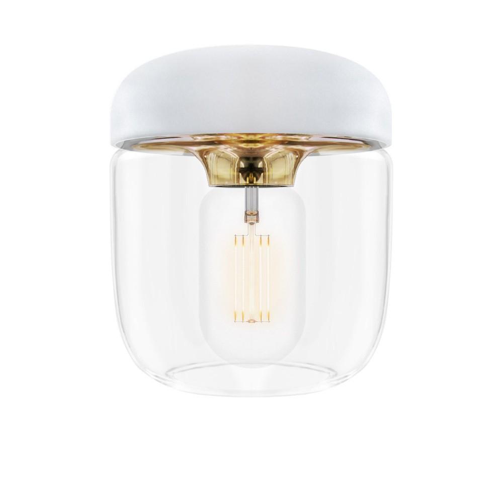 Biele závesné svietidlo s objímkou zlatej farby VITA Copenhagen Acorn, Ø14 cm