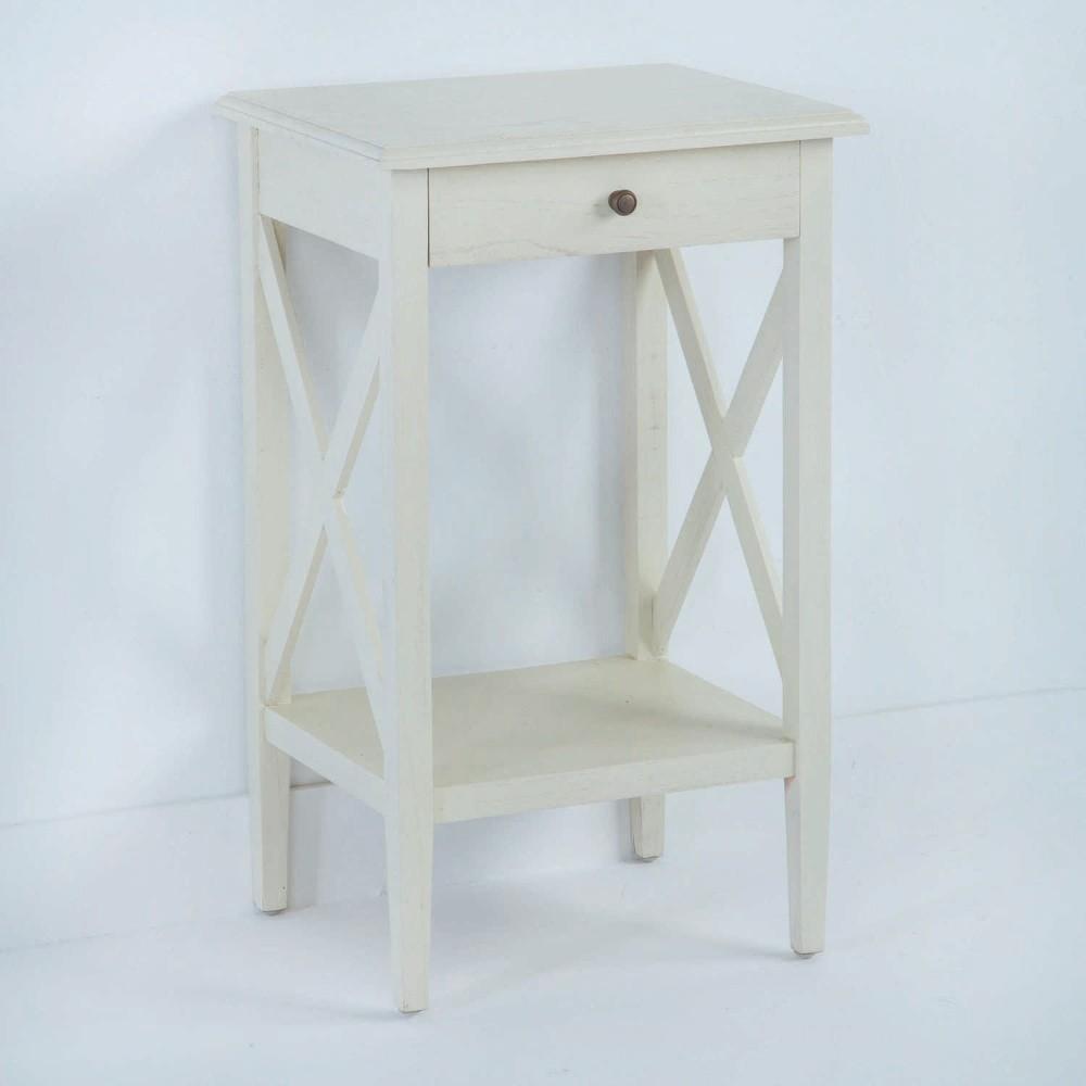Biely drevený nočný stolík Thai Natura, 42×70 cm