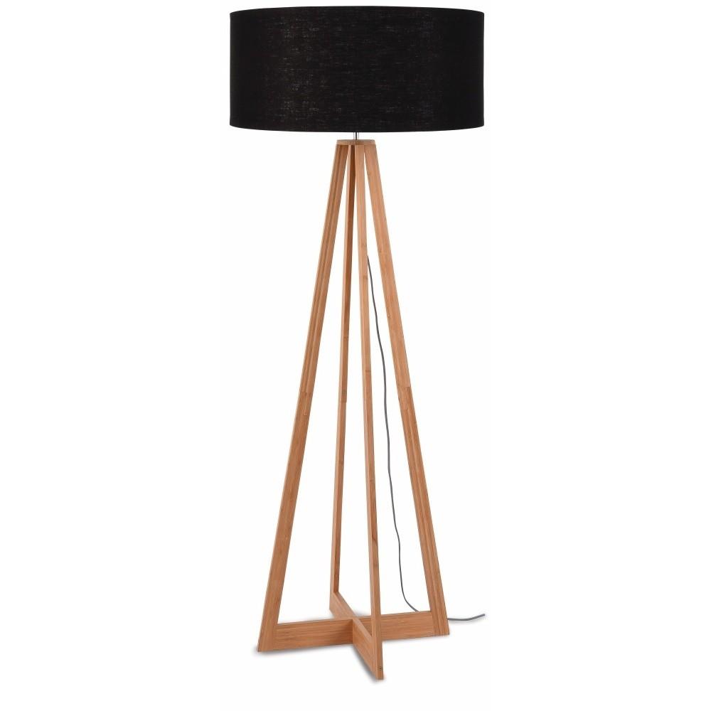 Stojacia lampa s čiernym tienidlom a konštrukciou z bambusu Good&Mojo Everest