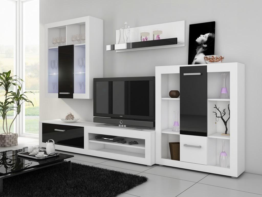 WIP VIKI obývacia stena - biely mat / čierny vysoký lesk