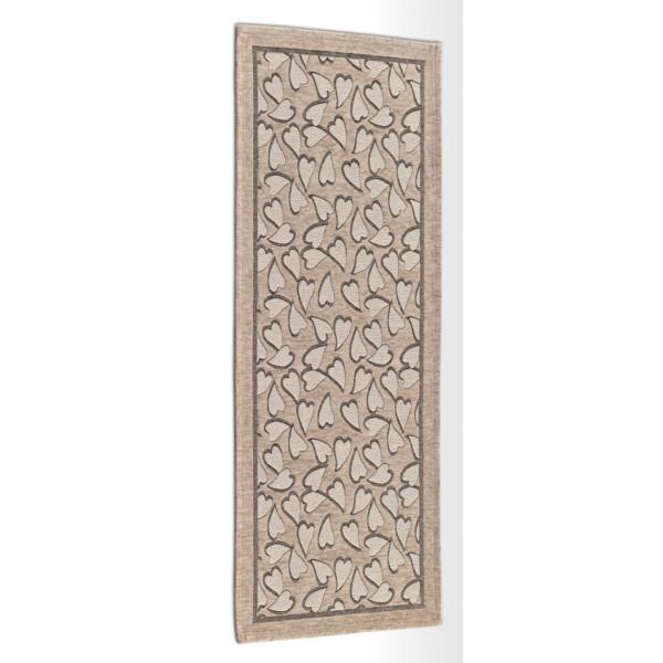 Béžový vysokoodolný kuchynský koberec Webtapetti Corazon Tortora, 55 x 240 cm