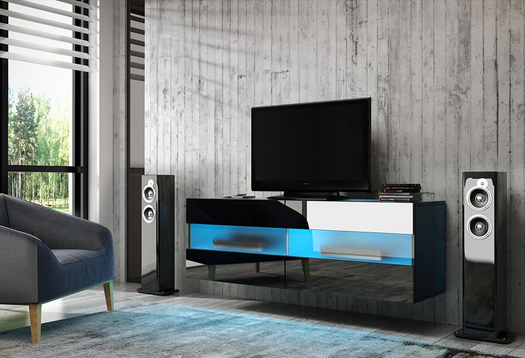 TV stolík/skrinka Rita (čierny lesk + čierna matná)