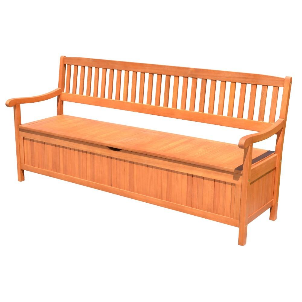Záhradná lavica s úložným priestorom z eukalyptového dreva ADDU Houston, dĺžka 187 cm