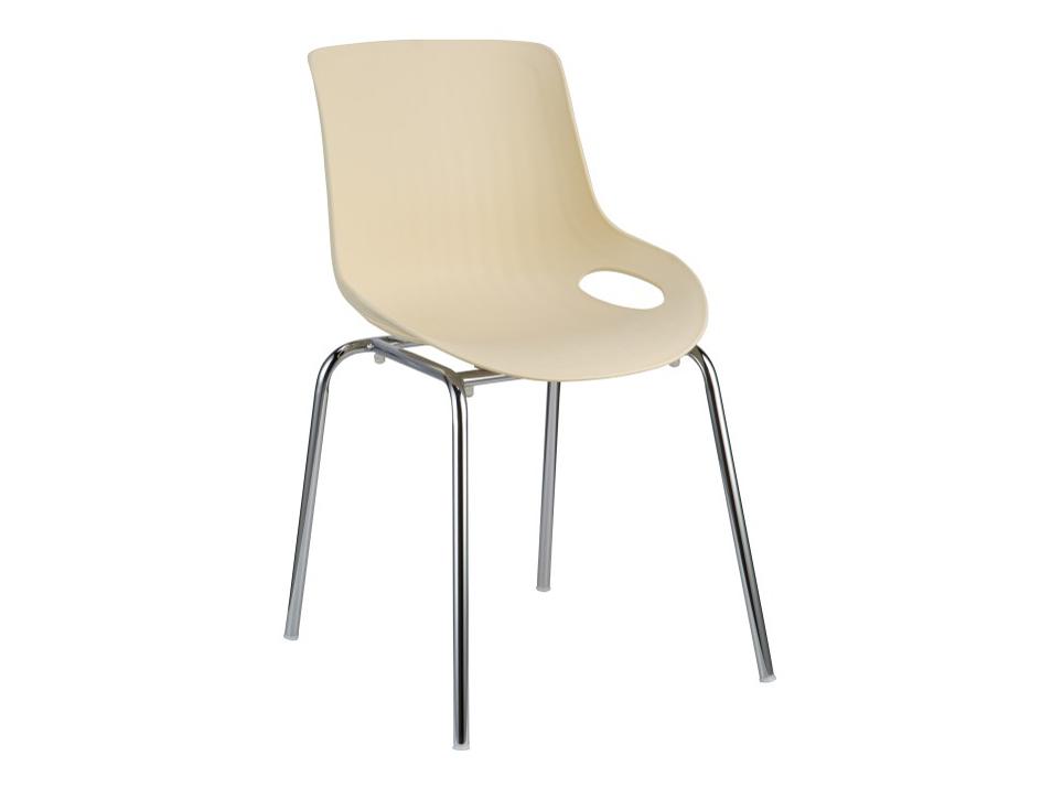 Jedálenská stolička Edlin (béžová + chróm)