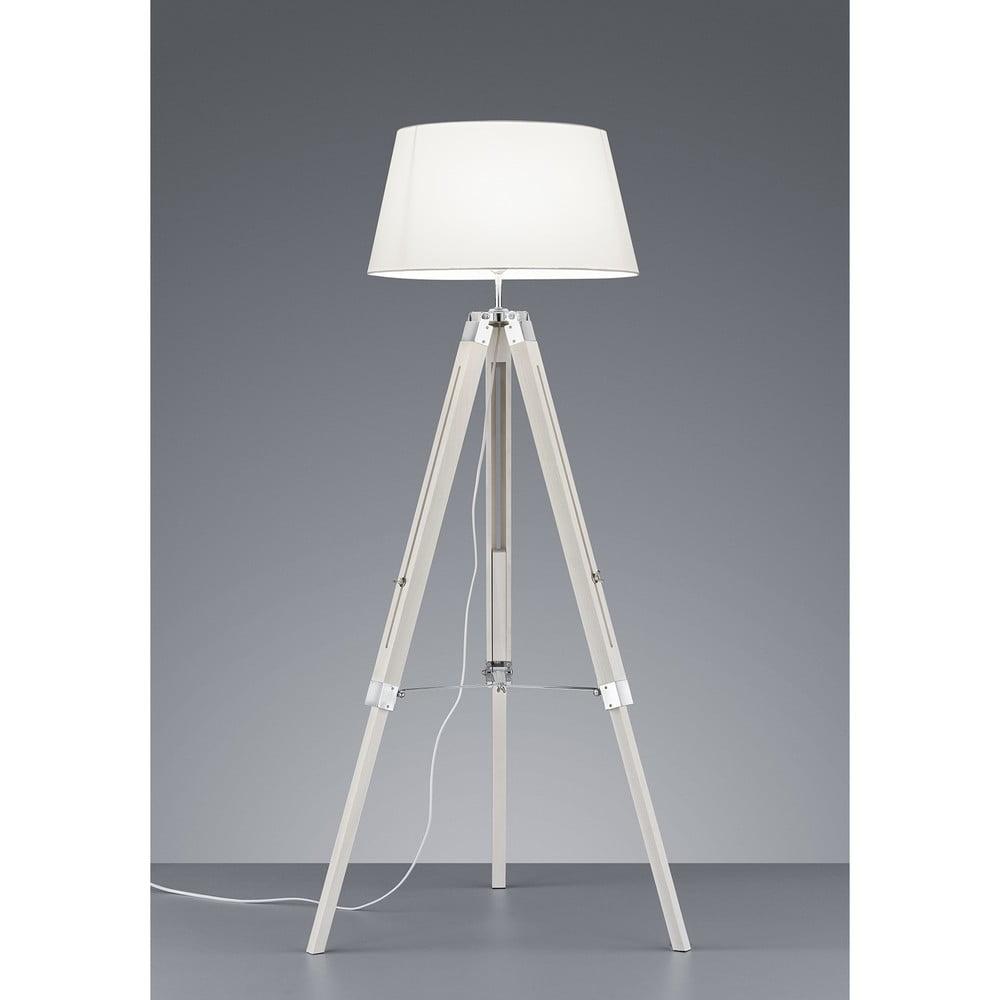 Biela stojacia lampa z prírodného dreva a tkaniny Trio Tripod, výška 143 cm