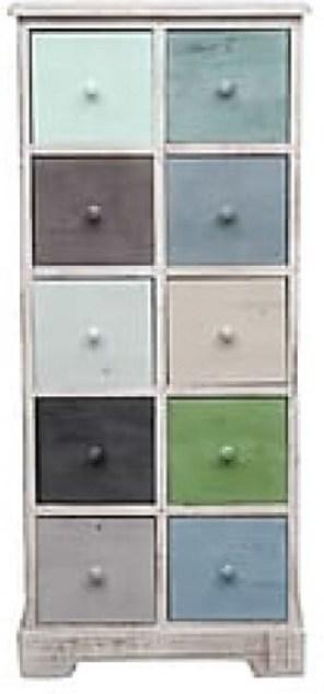Komoda, biela/farebné zásuvky, MONET 2