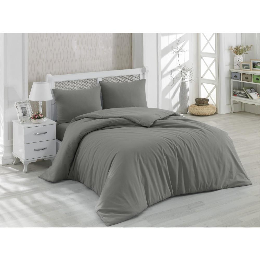 Sivé bavlnené obliečky s plachtou na dvojposteľ Minimal, 200 x 220 cm