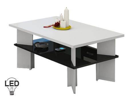 Konferenčný stolík Vectra 2 (biela + lesk čierny)