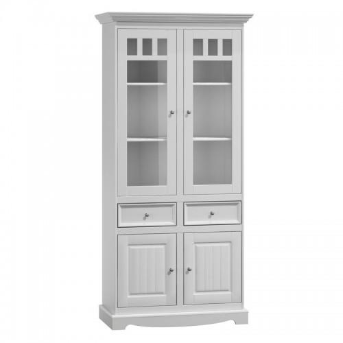 Biely nábytok Vitrína Belluno Elegante 2D, biela, masív