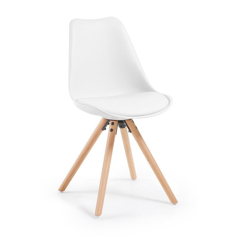 Biela jedálenská stolička s drevenými nohami loomi.design