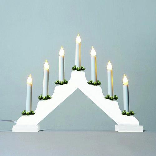Adventný svietnik s ťahanou žiarovkou LED Filament, biela
