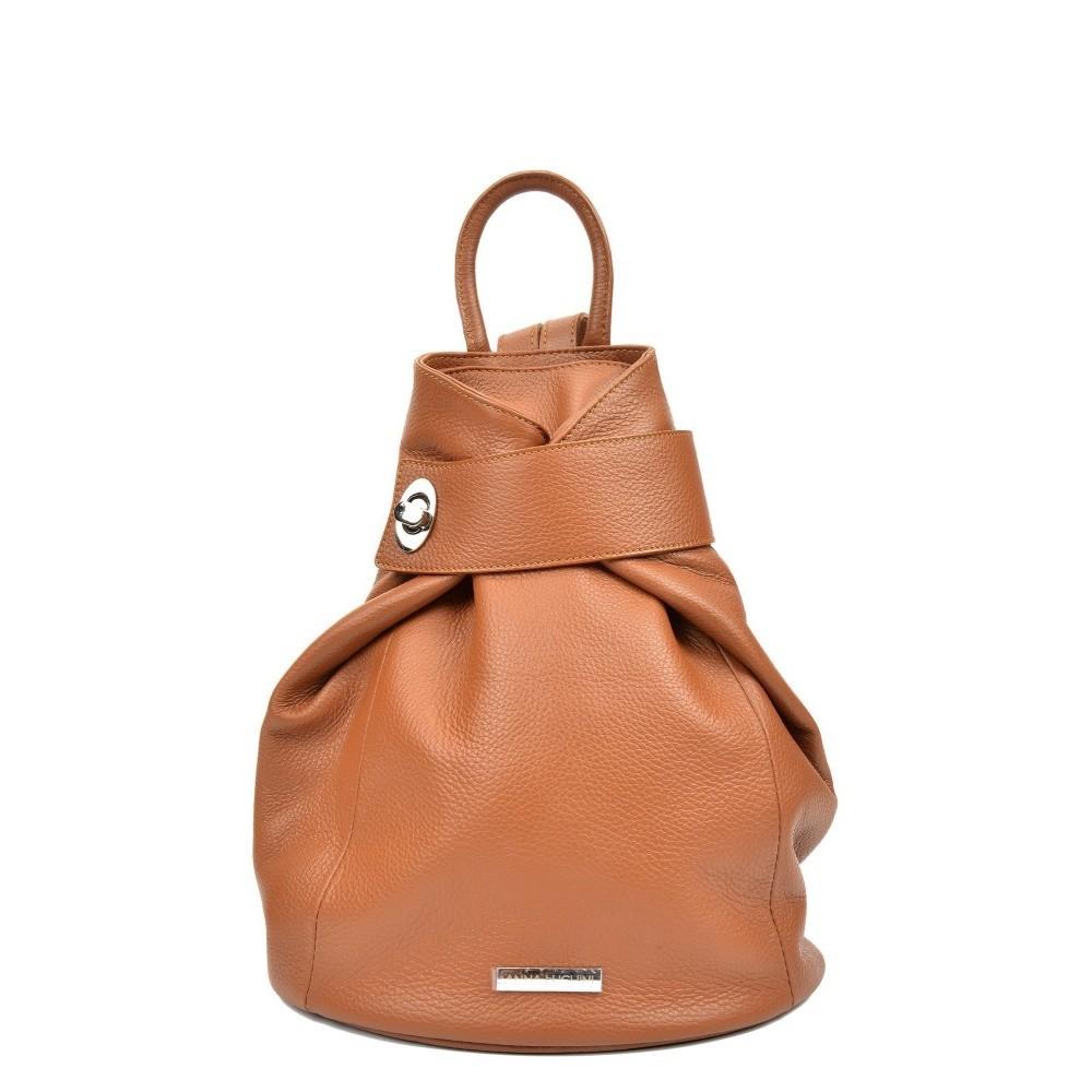 Koňakovohnedý dámský kožený batoh Anna Luchini Lismo