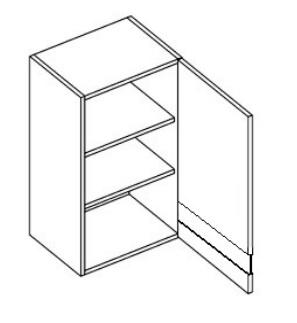 WS60 horná vitrína jednodverová MYA, picard/biely lesk