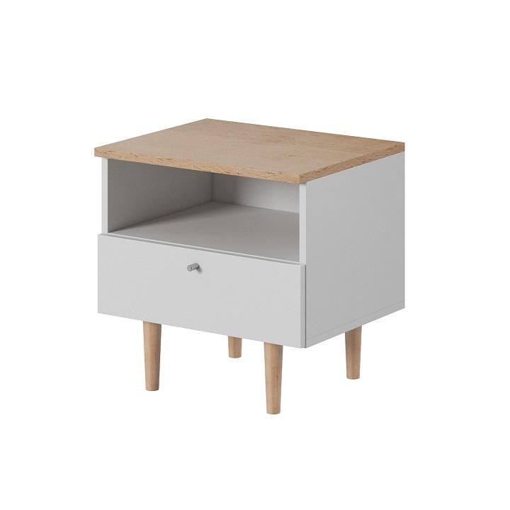 TEMPO KONDELA Nočný stolík, biela/buk pieskový, LAVELI  LS50