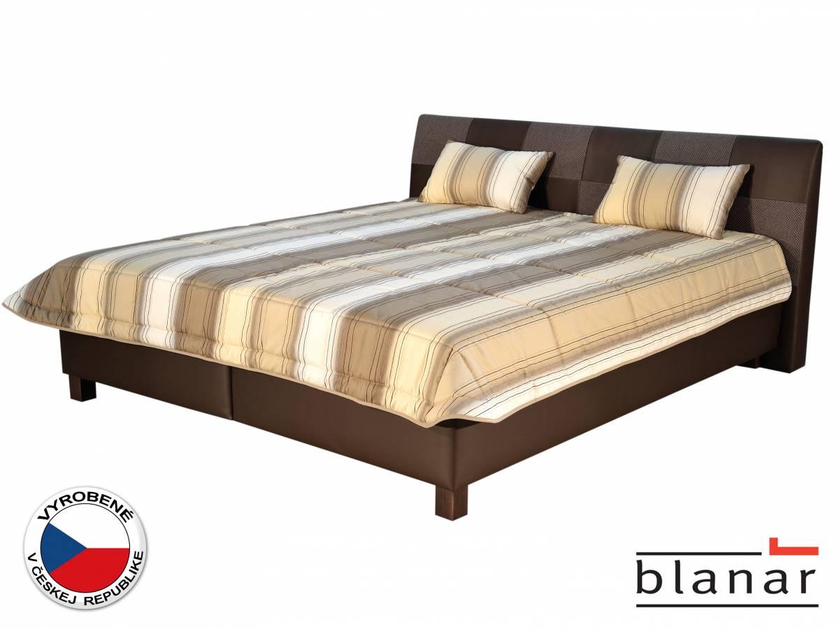 Manželská posteľ 180 cm Blanár Nice (s roštom a matracmi) (béžová + hnedá)