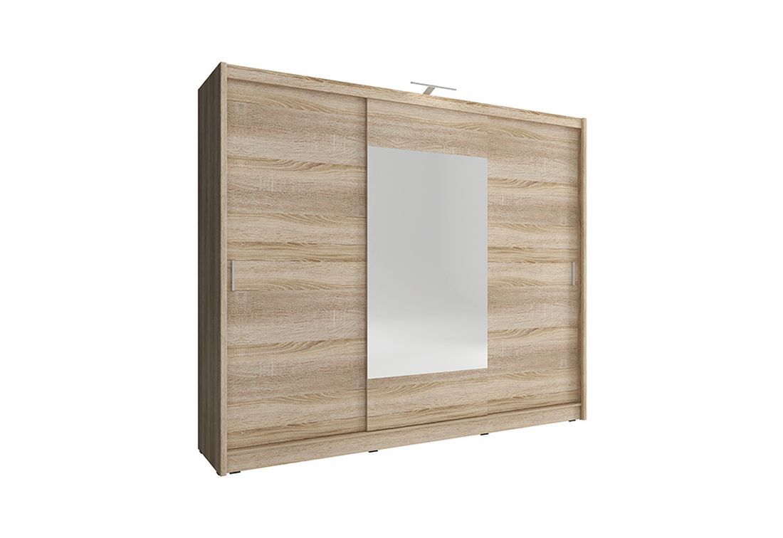 Šatníková skriňa WHITNEY 250, dub sonoma, + LED, 62x214x250 cm
