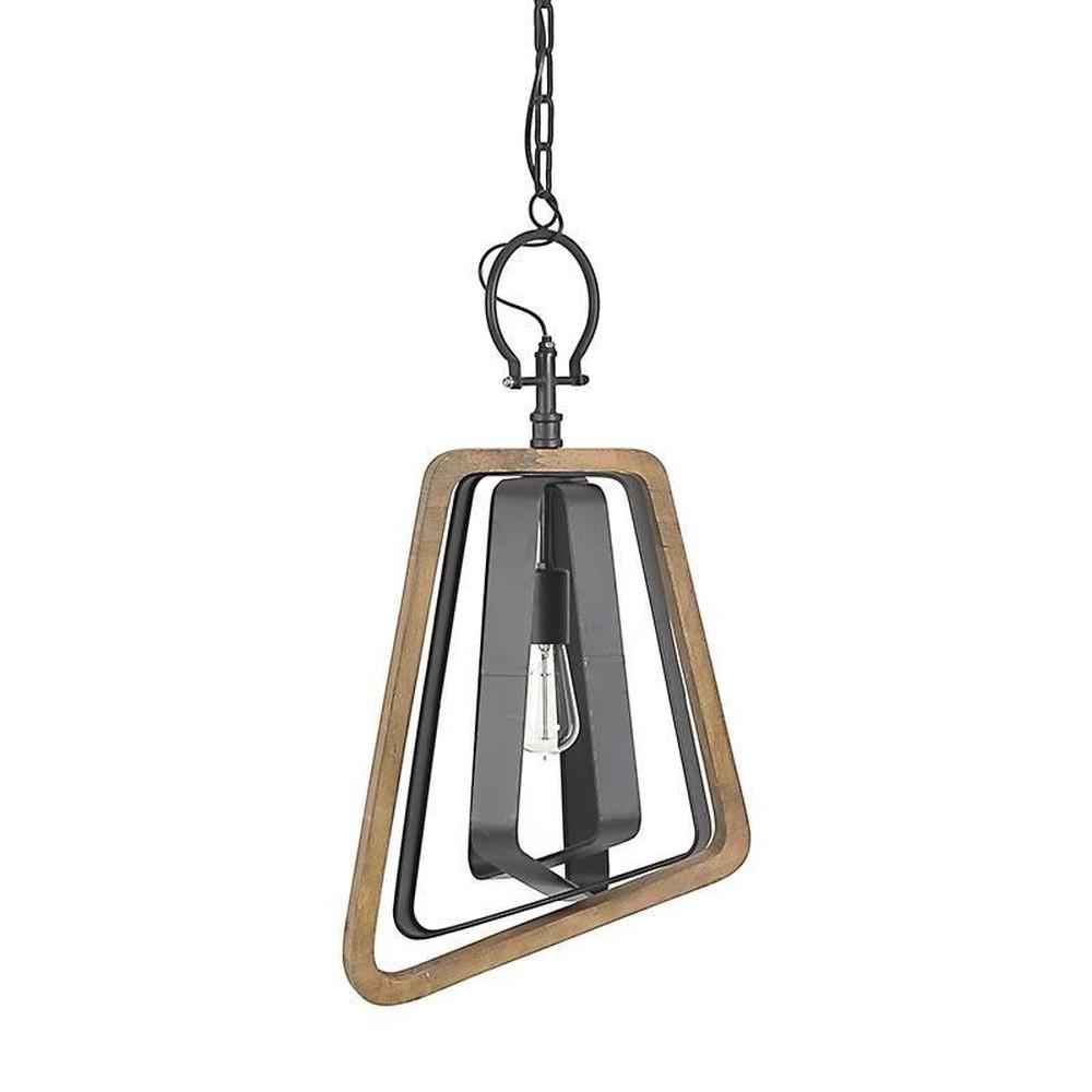 Čierne kovové svietidlo s dreveným prvkom InArt