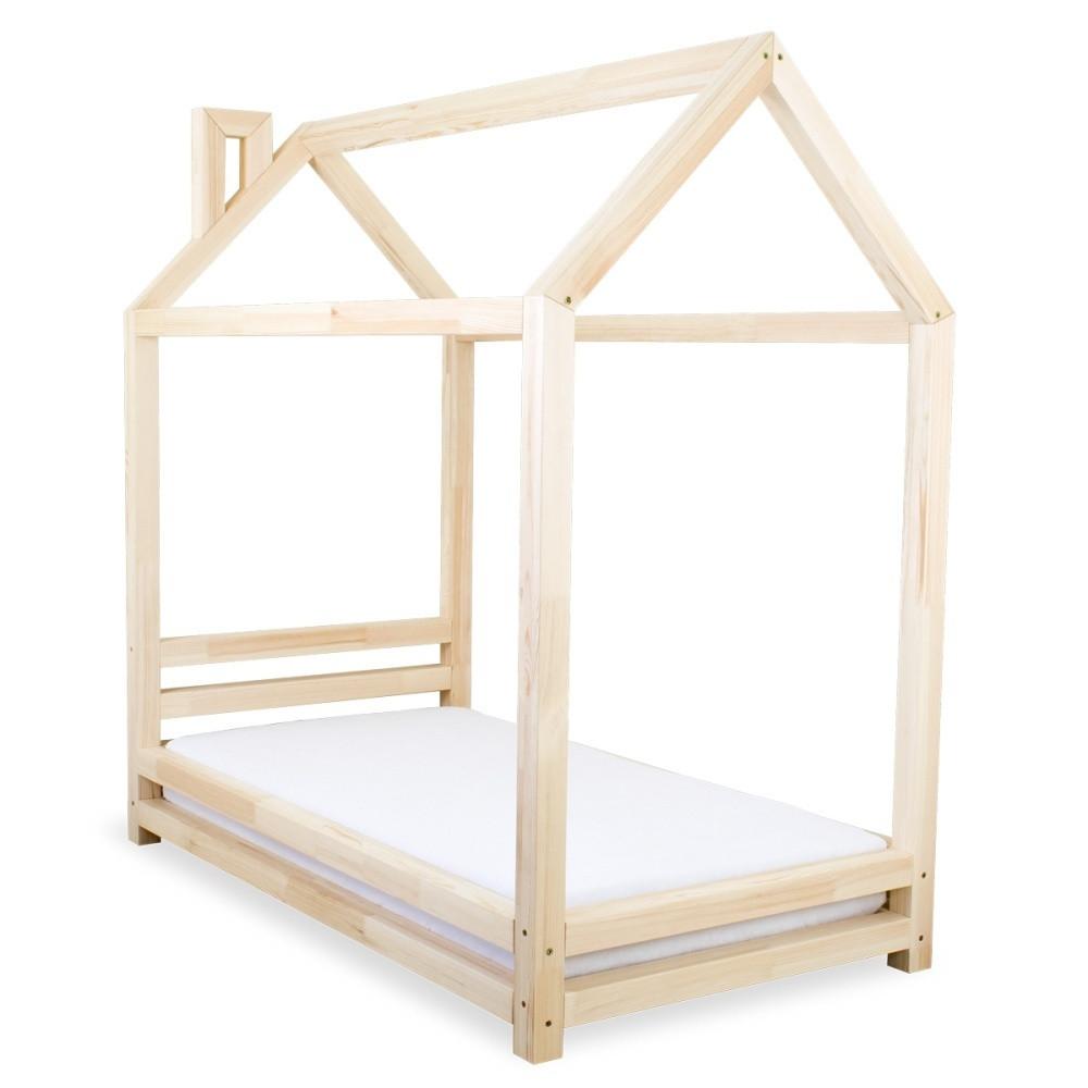 Detská posteľ z prírodného borovicového dreva Benlemi Happy, 90x180cm