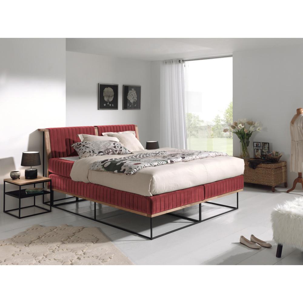 Červená dvojlôžková boxspring posteľ Sinkro Berlin Calling, 180 x 200 cm