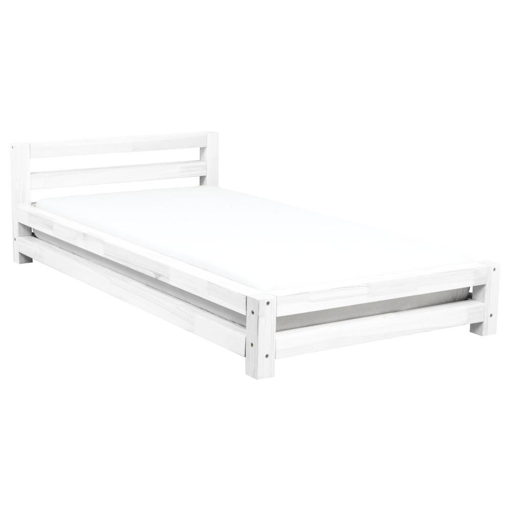 Biela jednolôžková posteľ zborovicového dreva Benlemi Single, 90x180cm