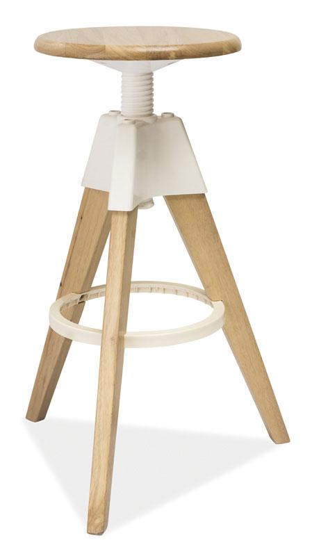 Otáčacia stolička BADO, dub bielený-biela