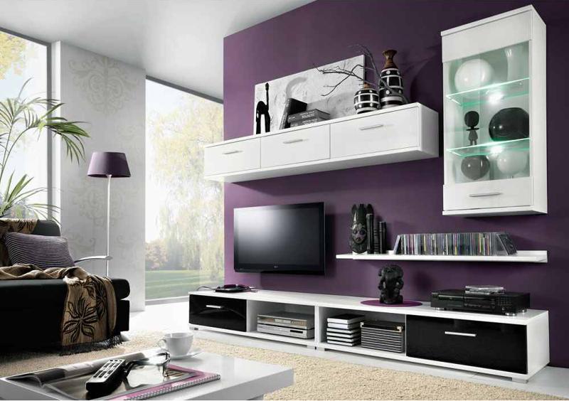 Obývacia stena MULIBU biela/čierny lesk