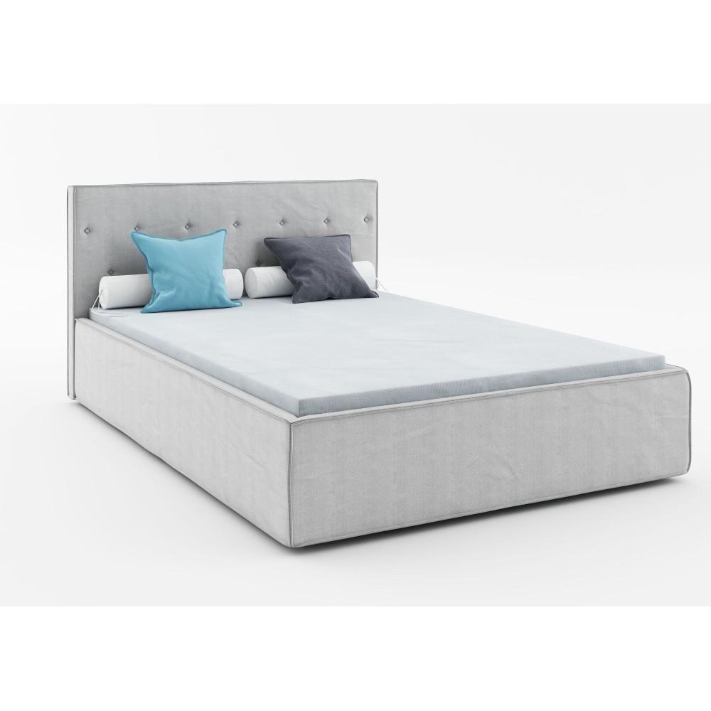 Svetlosivá dvojlôžková posteľ Absynth Mio Premium, 160x200cm