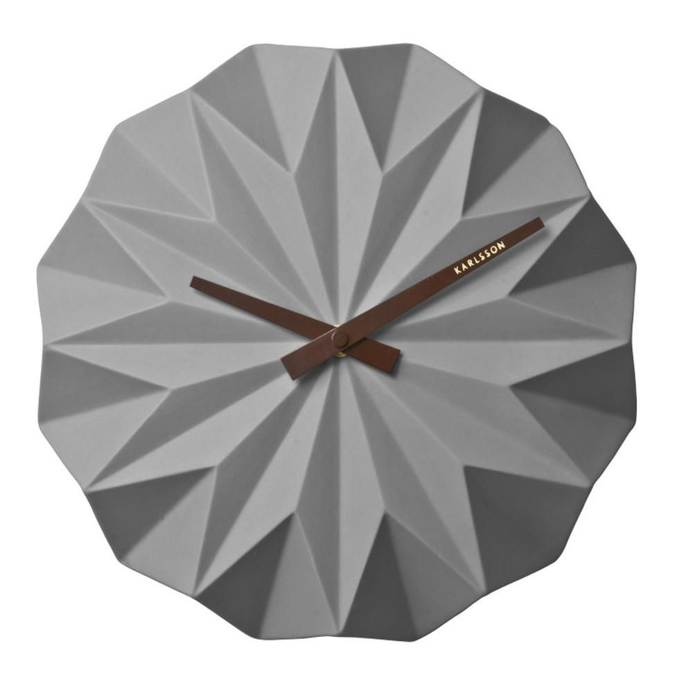Sivé nástenné hodiny Present Time Origami