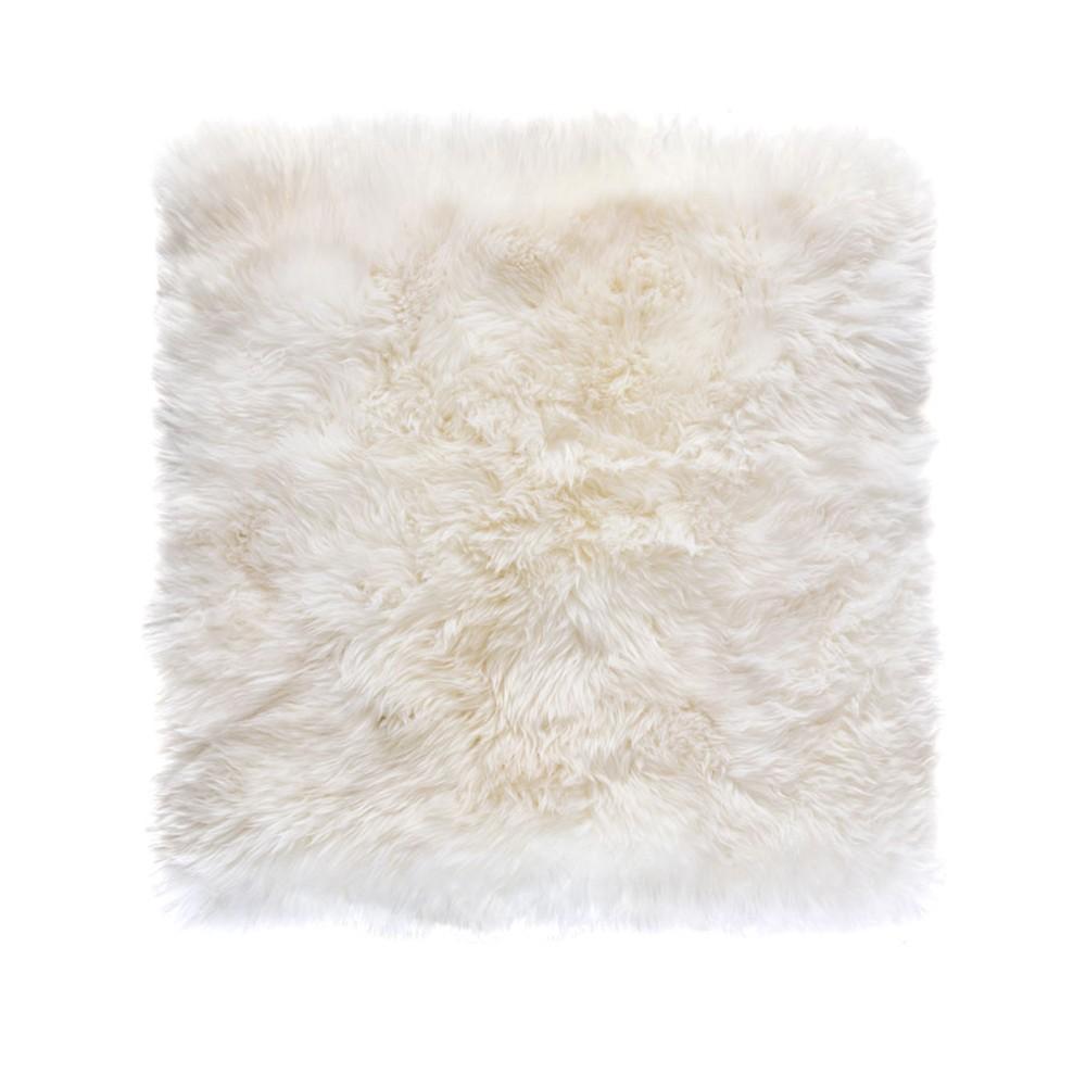 Biely štvorcový koberec z ovčej vlny Royal Dream Zealand