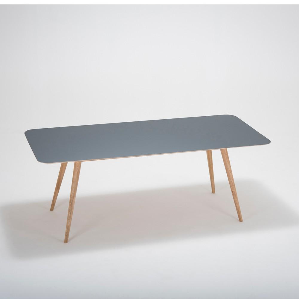 Jedálenský stôl z masívneho dubového dreva s čiernou doskou Gazzda Linn, 200×90cm