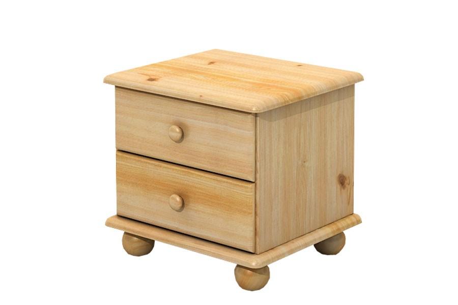Bradop Nočný stolík 2 zásuvky, masív borovica B202