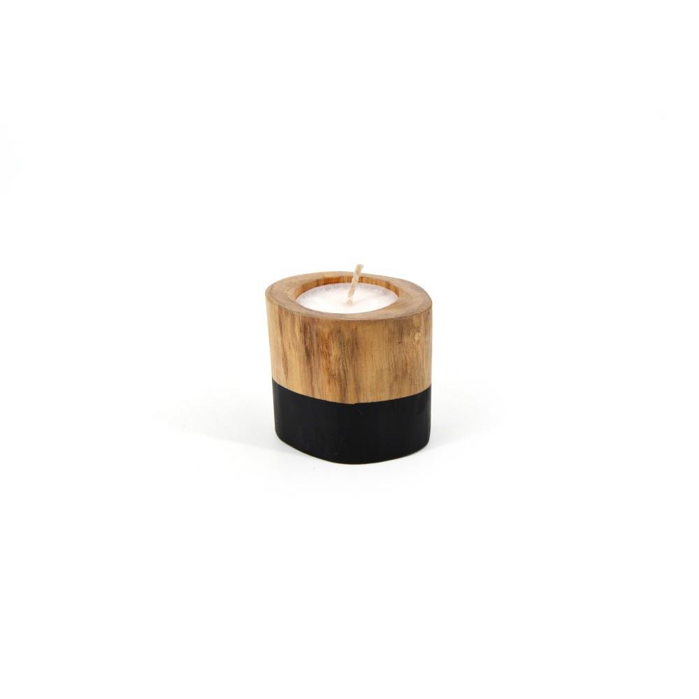 Svietnik na čajovú sviečku z teakového dreva Moycor, ø 11 x 11 cm