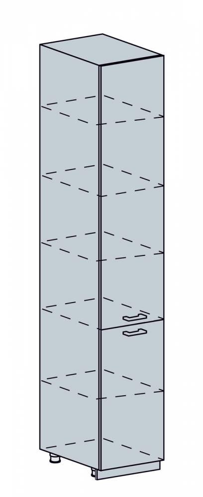 ARTEMIS/VALENCIA potravinová skriňa 40PV, biela/čierny metalic